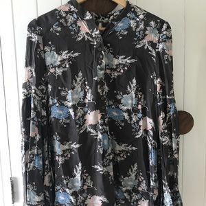 Free People Bell Sleeved Floral Tunic